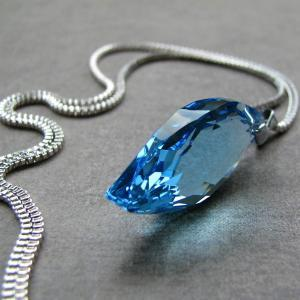 Celebration necklace - Swarovski crystal . sterling silver . aquamarine