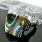 Peacock Ring - abalone shell / wire wrapped (made to order)