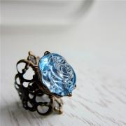 Nostalgic Rose Ring - vintage lucite in Vintage Blue (adjustable) - Last Piece