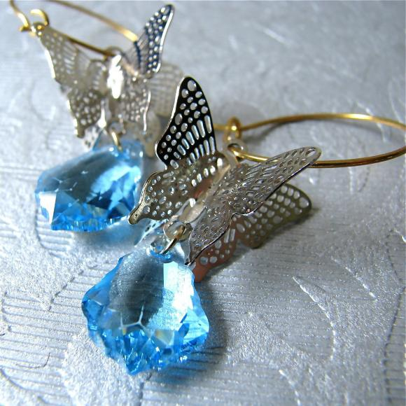 Papillion earrings - Swarovski crystal with silver filigree in Aqua (last piece)