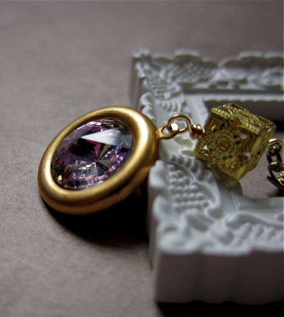 Looking glass necklace - Swarovski crystal on vintage brass / in Dream (more colors)