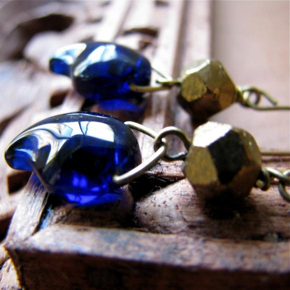 Chloe earrings - sapphire blue glass drops with vintage hand cut bronze glass - Distressed Look