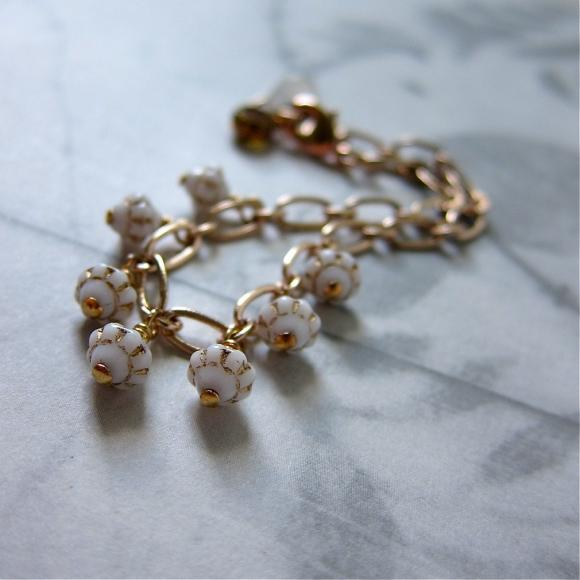 Delicate Milky Vintage Glass Lantern Charm Bracelet in Rose Gold Chain (in white)