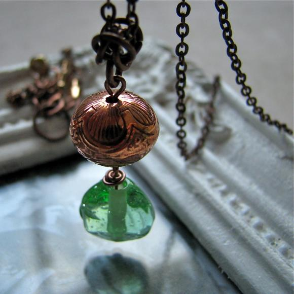 Oasis necklace - peridot sea green lampwork glass / vintage lucite carved bead on antiqued copper chain