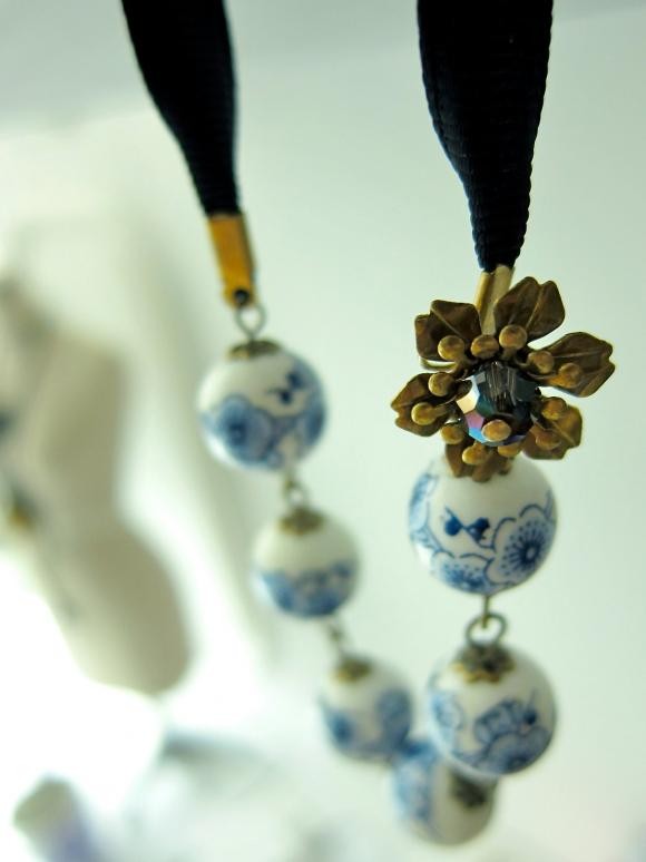 Cherry Blossom Porcelain / Ceramic Beaded Necklace - ribbon tie / wire wrapped (Brass)