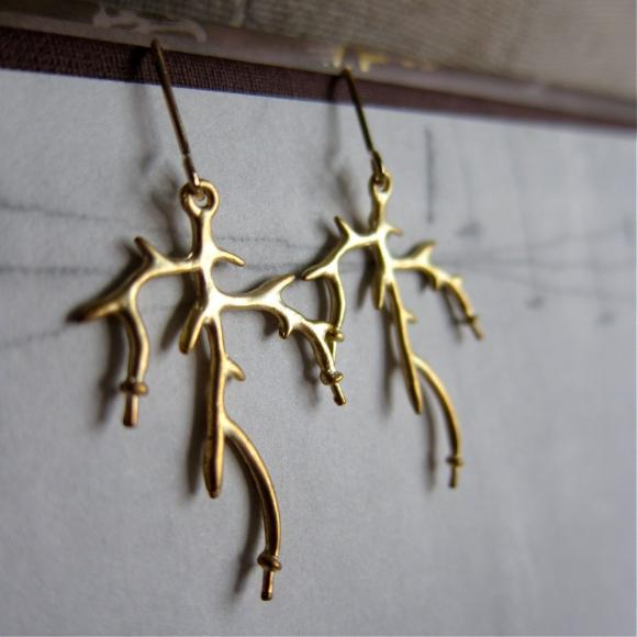 Sculptural Antler Earrings / branch / twig in matte gold finish