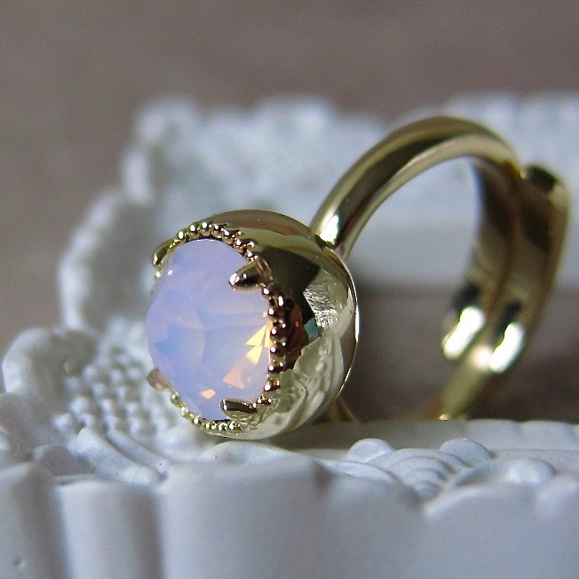 Orb ring - pale pink Swarovski crystal on 14K gold plated (Size 6.5 - ready to ship)