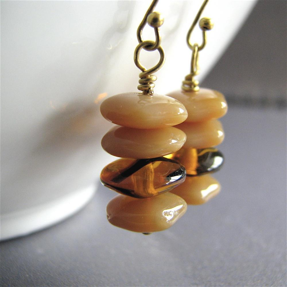 Delicious Creme Caramel Earrings featuring geometric hexagonal vintage glass with antiqued gold ear hooks