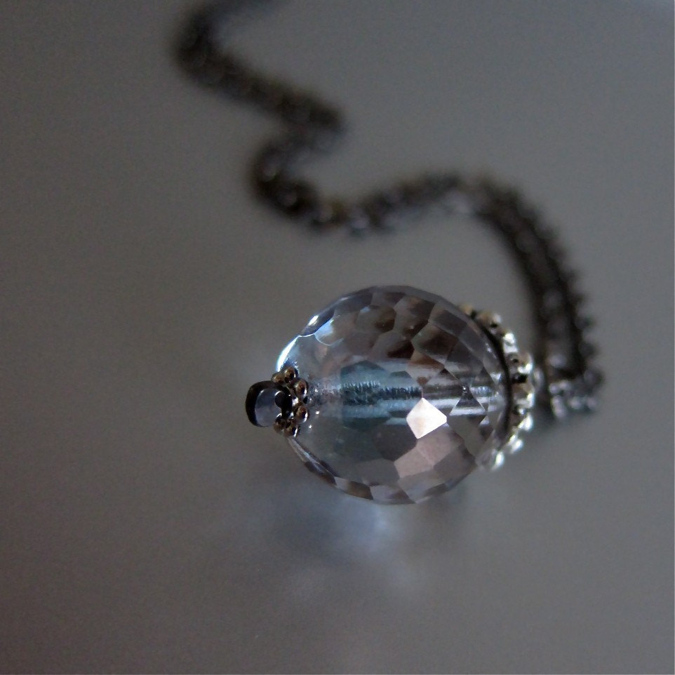 Shimmering Morning Dew necklace - mystic blue faceted glass / gunmetal