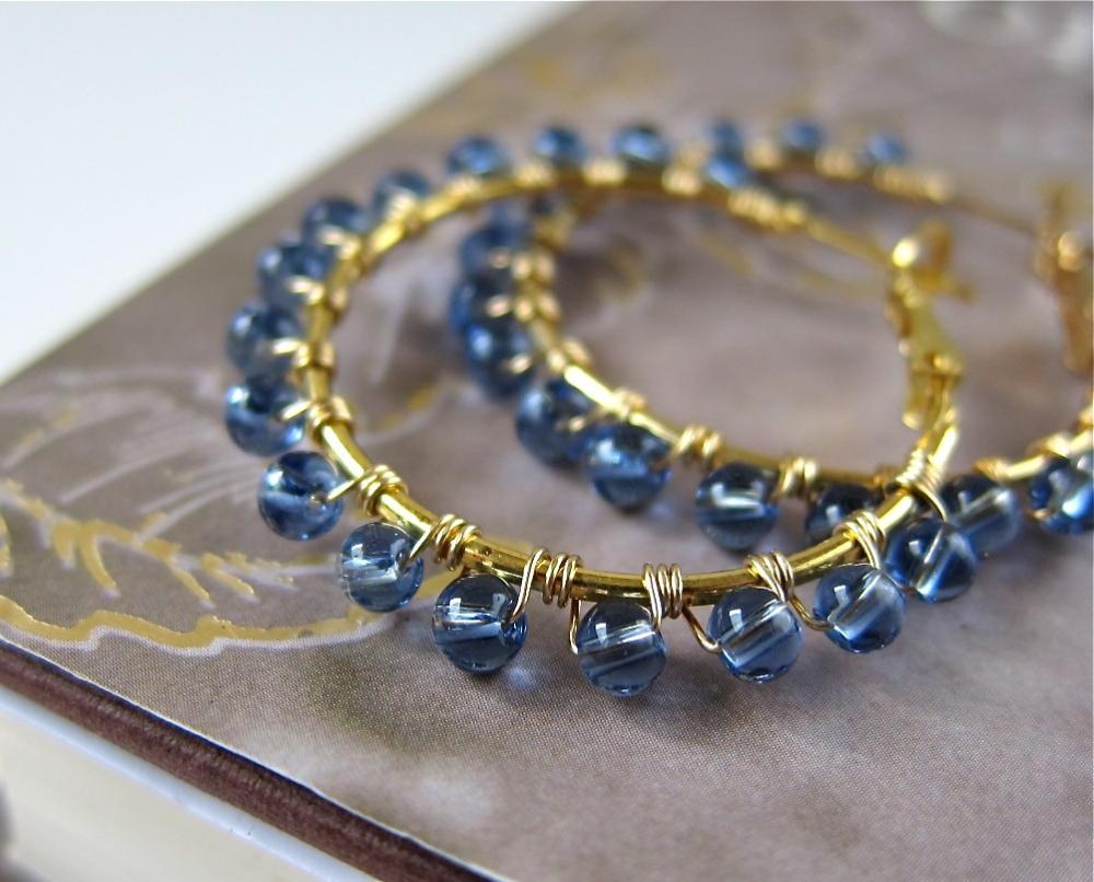 Understated Halo beaded hoop earrings - wire wrapped in Cornflower Blue glass (more colors available)