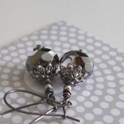Smoke Signal earrings - faceted smoky black diamond faceted glass - romantic style