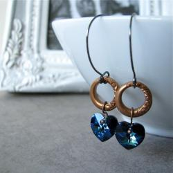 Sweet Life earrings - bermuda blue swarovski crystal / art deco vintage rings on sterling silver handmade ear wires - Nostalgic style